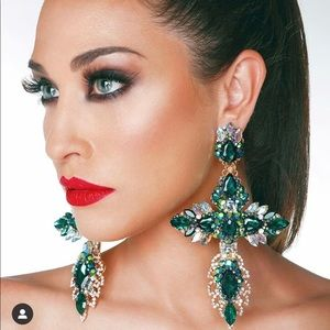 Helendia Green Crystal Earrings